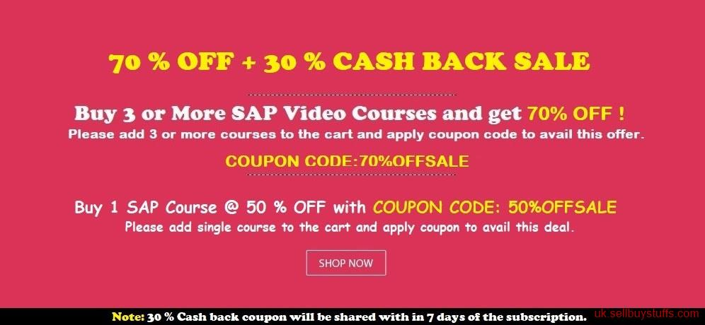 second hand/new: LAST FEW HOURS 70% OFF + 30 % CASH BACK SALE - LEARN ANY 3 SAP COURSES @ 99 $    : https://www.selflearningsap.com
