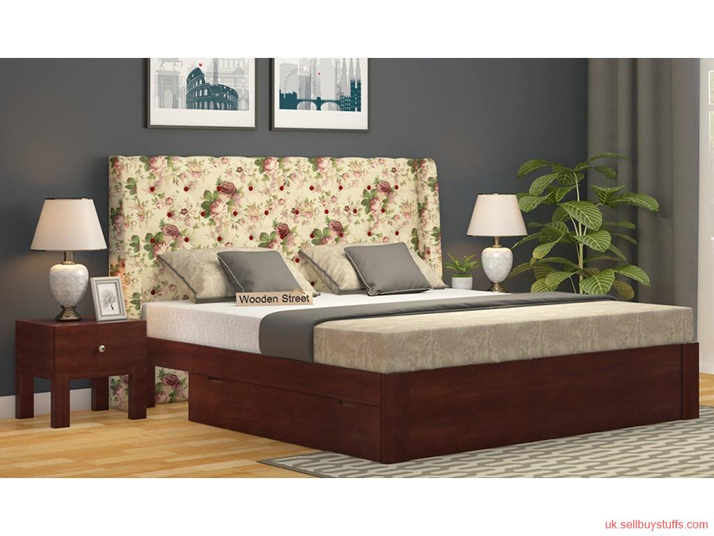second hand/new: Solid Wood Upholstered Bed - Wooden Street UK