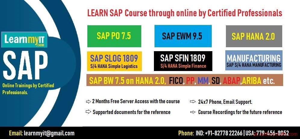 second hand/new:  Learn SAP Course Online by Certified Consultants - SAP PO 7.5, EWM 9.5, SAP S/4 HANA 1809